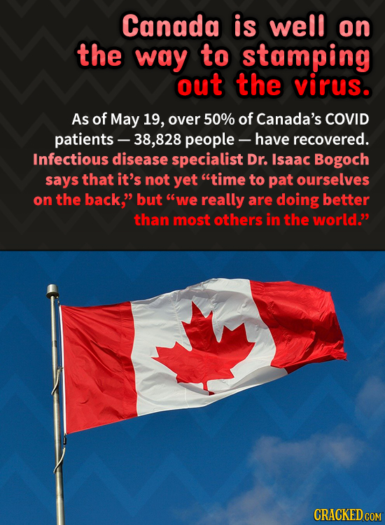 Canada is well on the way to stamping out the virus. As of May 19, over 50% of Canada's COVID patients- .828 people - have recovered. Infectious disea