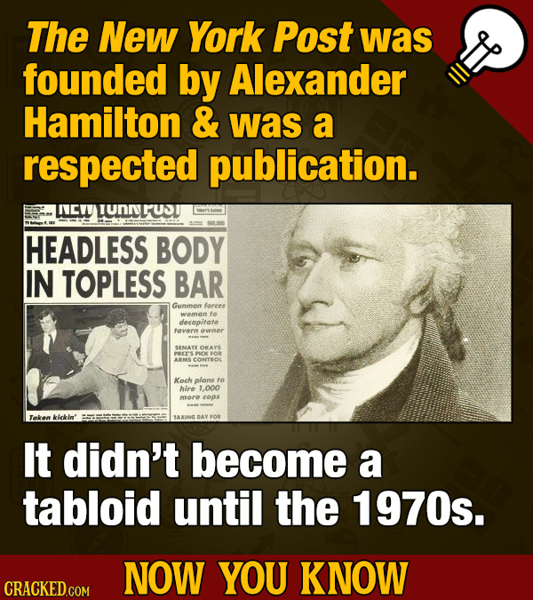 The New York Post was founded by Alexander Hamilton & was a respected publication. CWLUNNLUDI HEADLESS BODY IN TOPLESS BAR Gunmon forees woman te deca
