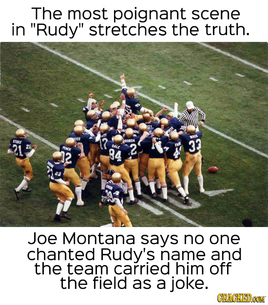 The most poignant scene in Rudy stretches the truth. ISY OND Art STERE MATES 7 MACK OORDA 21 3? 2 BALE PC 84 2 2 Joe Montana says no one chanted Rud