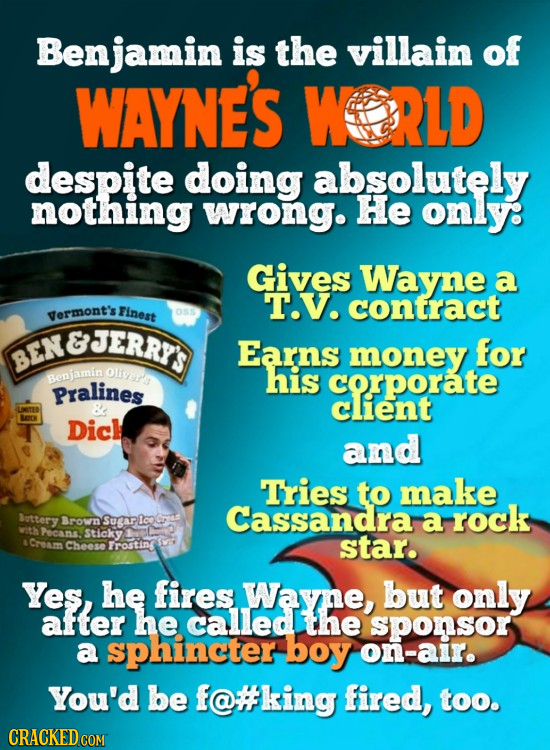 Benjamin is the villain of WAYNE'S WORLD despite doing absolutely nothing wrong. He only: Gives Wayne a T.V. Finest contract yermont's OsS ENBJERRTS E