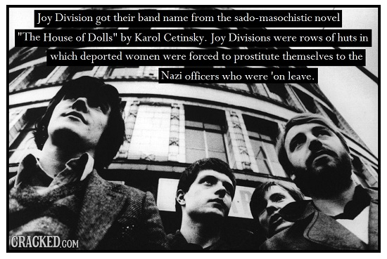 Joy Division got their band name from the sado-masochistic novel The House of Dolls by Karol Cetinsky. Joy Divisions were rows of huts in which depo