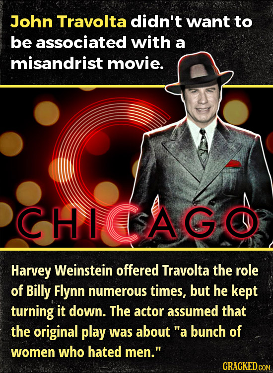 John Travolta didn't want to be associated with a misandrist movie. CHICSAGO Harvey Weinstein offered Travolta the role of Billy Flynn numerous times,