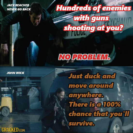 JACK REACHER Hundreds of enemies NEVER GO BACK with guns shooting at you? N TULIUL NO PROBLEM. JOHN WICK Just duck and move around anywhere. There is