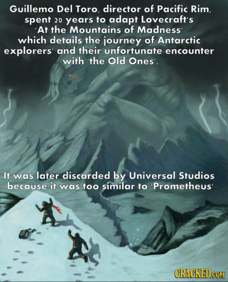 Guillemo Del Toro, director of Pacific Rim. spent 20 years to adapt Lovecraft's 'At the Mountains of Madness' which details the journey of Antarctic e