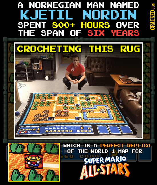 A NORWEGIAN MAN NAMED KJETIL NORDIN SPENT 800+ HOURS OVER THE SPAN OF SIX YEARS GRAth CROCHETING THIS RUG OS S ALR WORLO OO00ooo WHICH IS A PEREECT RE