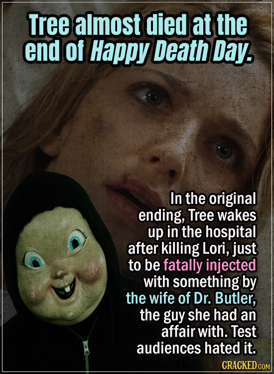 15 Early Drafts For Horror Movies That Are Totally Bonkers - Tree almost died at the end of Happy Death Day. In the original ending, Tree wakes up in