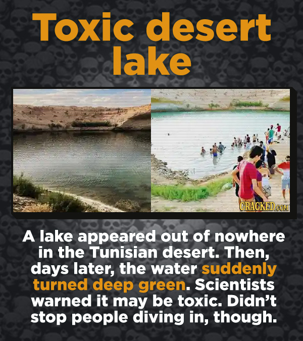 Creepy Discoveries That People Stumbled Into - A lake appeared out of nowhere in the Tunisian desert. Then, days later, the water suddenly turned deep