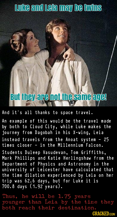 Luke and Leia may be twins But they are not the same age! And it's all thanks to space travel. An example of this would be the travel made by both to