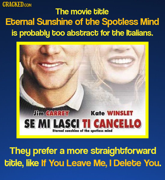 CRACKED.COM The movie title Eternal Sunshine of the Spotless Mind is probably too abstract for the ltalians. Jim CARREY Kate WINSLET SE MI LASCI TI CA