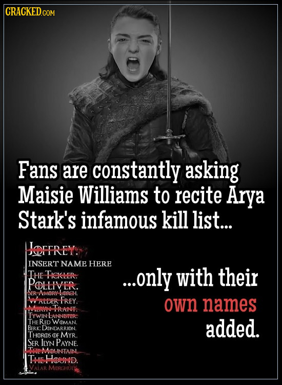 Fans are constantly asking Maisie Williams to recite Arya Stark's infamous kill list... OFTREY INSERT NAME HERE THE Tekre ...only with their POLLIVER