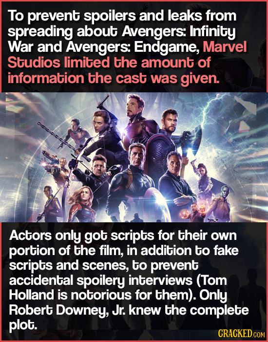 To prevent spoilers and leaks from spreading about Avengers: Infinity War and Avengers: Endgame, Marvel Studios limited the amount of information the