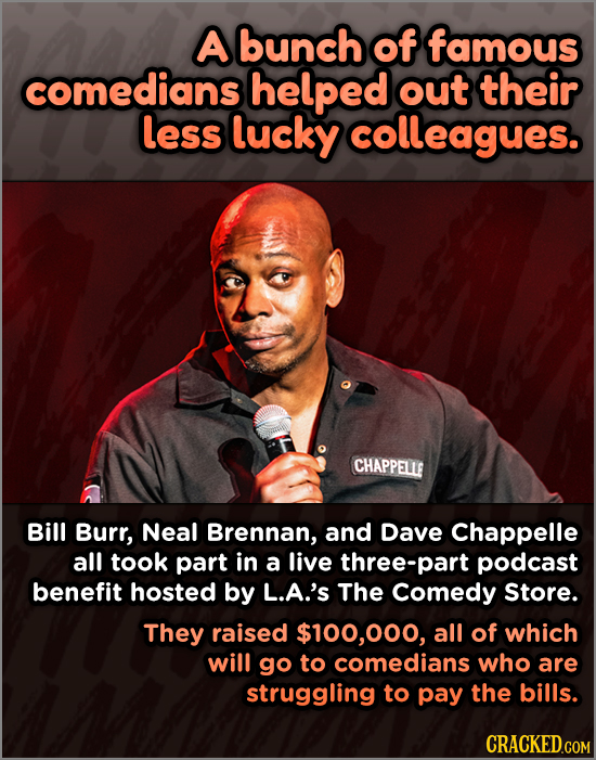 A bunch of famous comedians helped out their less lucky colleagues. CHAPPELLE Bill Burr, Neal Brennan, and Dave Chappelle all took part in a live thre