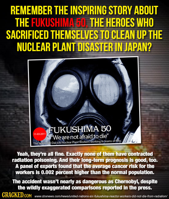 REMEMBER THE INSPIRING STORY ABOUT THE FUKUSHIMA 50. THE HEROES WHO SACRIFICED THEMSELVES TO CLEAN UP THE NUCLEAR PLANT DISASTER IN JAPAN? FUKUSHIMA 5