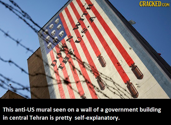 CRACKED This anti-Us mural seen on a wall of a government building in central Tehran is pretty self-explanatory.