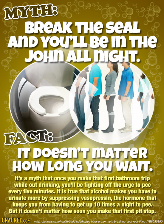 MYTH8 BREAK THE SEAL And YOULL BE in THE JOHN ALL NIGHT. FAGT8 IT DoESN'T MATTER HOW LONG you WAIT. It's a myth that once you make that first bathroom