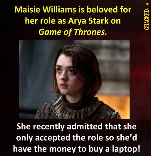 Maisie Williams is beloved for her role as Arya Stark on Game of Thrones. cRAgh She recently admitted that she only accepted the role so she'd have th