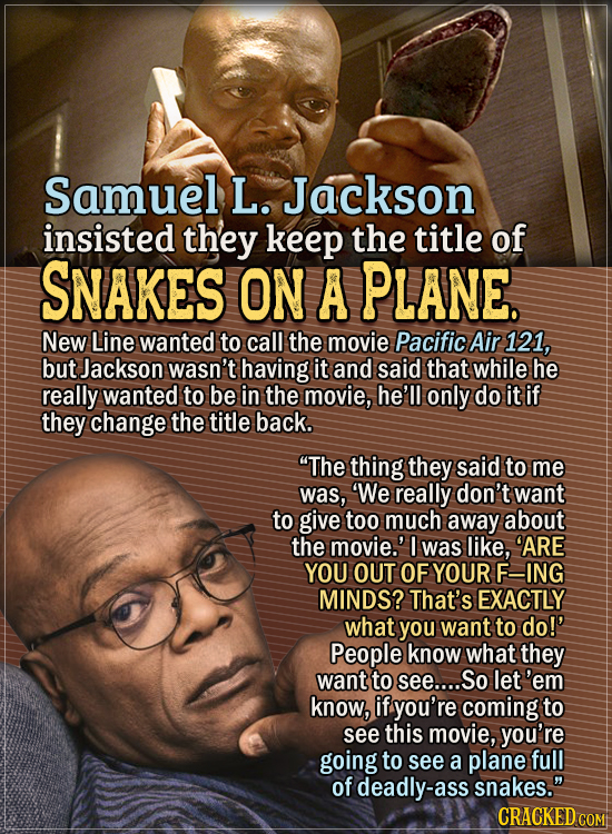 Actors Who Had To Put Their Foot Down During Filming - Samuel L. Jackson insisted they keep the title of the movie Snakes on a Plane. New Line wanted