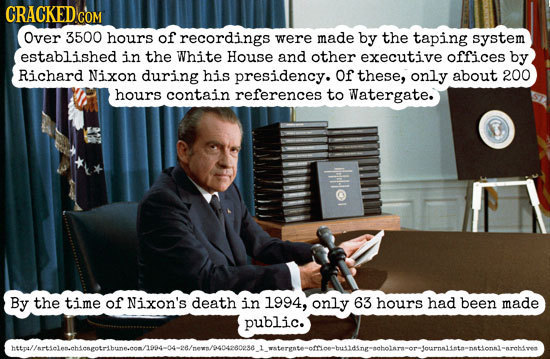 CRACKED CON COM Over 3500 hours of recordings were made by the taping system established in the White House and other executive offices by Richard Nix