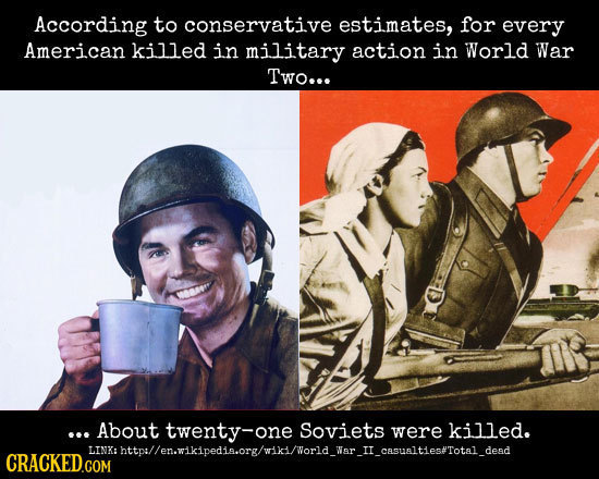According to conservative estimates, for every American killed in military action in World War Two... .. About twenty-on one Soviets were killed. LINa