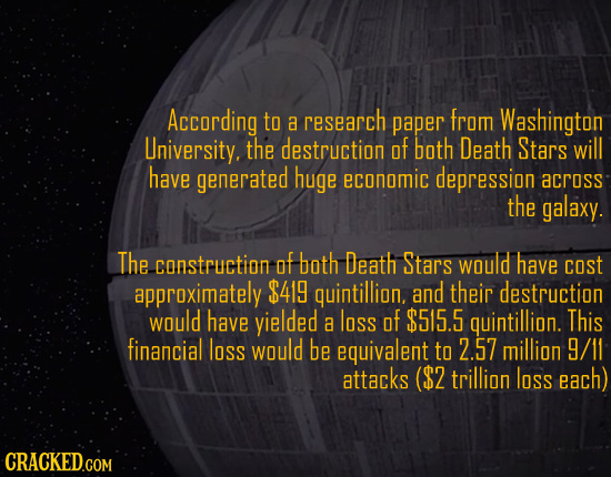According to a research paper from Washington Lniversity. the destruction OF both Death Stars will have generated huge economic depression across the