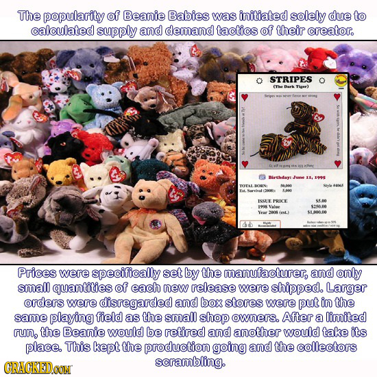 The popularity of Beanie Babies was initiated solely due to calculated supply and demand tactics of their creator. STRIPES (Thee Dok TIea) Birthdays I