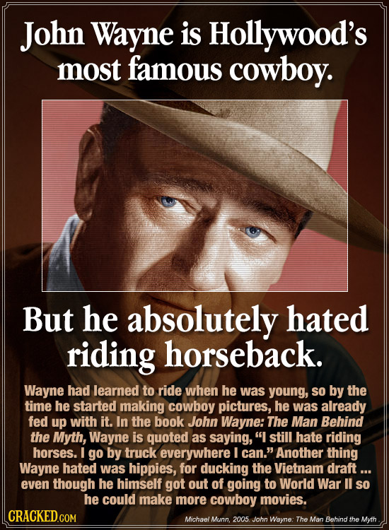 John Wayne is Hollywood's most famous cowboy. But he absolutely hated riding horseback. Wayne had learned to ride when he was young, so by the time he