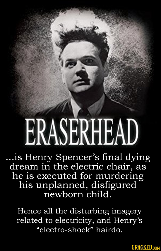 ERASERHEAD ...is Henry Spencer's final dying dream in the electric chair, as he is executed for murdering his unplanned, disfigured newborn child. Hen