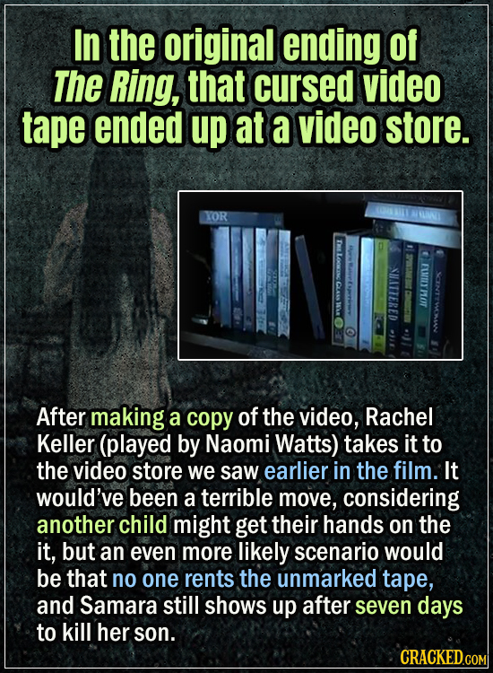 15 Early Drafts For Horror Movies That Are Totally Bonkers- In the original ending of The Ring, that cursed video tape ended up at a video store - Aft