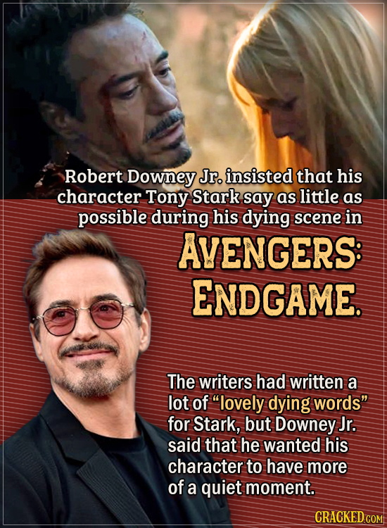 Actors Who Had To Put Their Foot Down During Filming - Robert Downey Jr. insisted that his character Tony Stark say as little as possible during his d