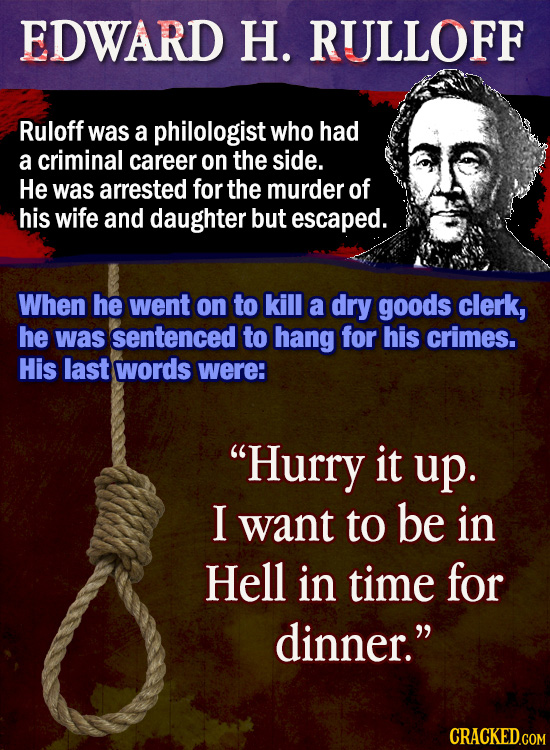 EDWARD H. RULLOFF Ruloff was a philologist who had a criminal career on the side. He was arrested for the murder of his wife and daughter but escaped.