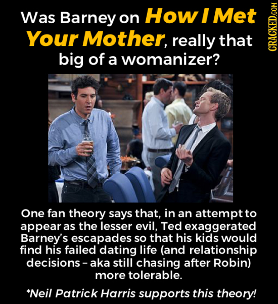 Was Barney How I Met on Your Mother, really that big of a womanizer? CRAGN One fan theory says that, in an attempt to appear as the lesser evil, Ted e