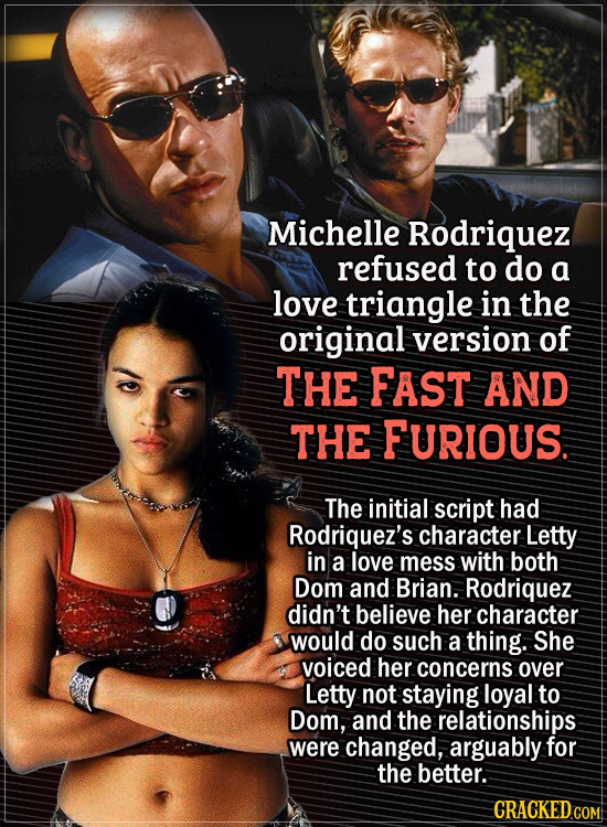 Actors Who Had To Put Their Foot Down During Filming - Michelle Rodriquez refused to do a love triangle in the original version of The Fast and the Fu