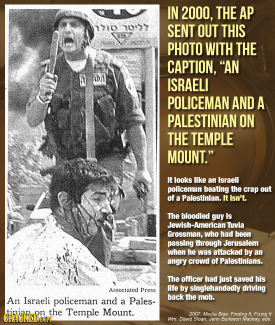 IN 2000, THE AP 1710 n077 SENT OUT THIS PHOTO WITH THE CAPTION, AN ISRAELI POLICEMAN AND A PALESTINIAN ON THE TEMPLE MOUNT. It looks like an Israeli