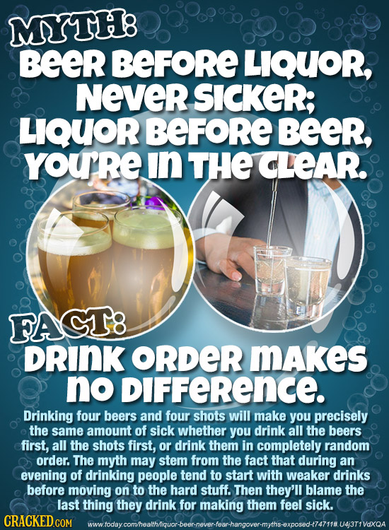 MYTH8 Beer BEFORE LIQUOR, NeveR SICKER; LIQUOR BEFORE BEER, YOURE in THE CLEAR. FACT8 DRINK oRDeR MAkes no DIFFeRENCE. Drinking four beers and four sh