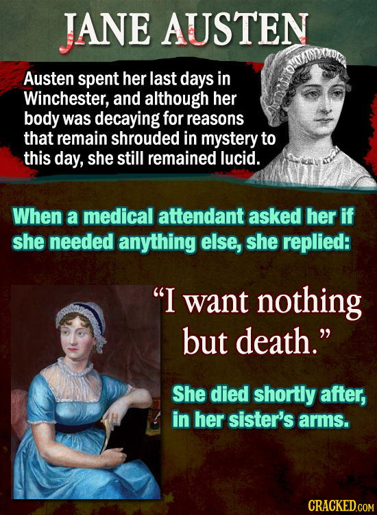 JANE AUSTEN Austen spent her last days in Winchester, and although her body was decaying for reasons that remain shrouded in mystery to this day, she