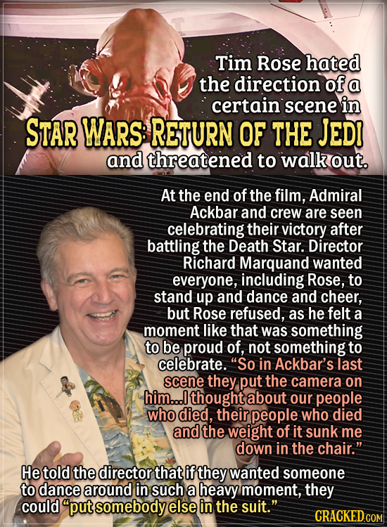 Actors Who Had To Put Their Foot Down During Filming - Tim Rose hated the direction of a certain scene in Star Wars: Return of the Jedi and threatened