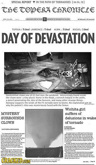 SPECIAL REPORT IN THE PATH OF TORNADOES [4A-5A.18 The TOE2 CS2OIE BEAS OMATIS O DE MNITE TOPEKA: dead LAWBENCE: dead ALMA . 13 dead BOCUE: 2dead DAY O
