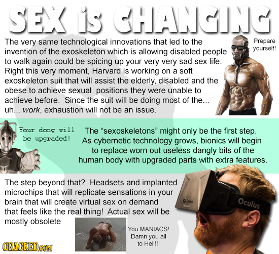 SEX is CHANGING The very same technological innovations that led to the Prepare invention of the exoskeleton which is allowing disabled people yoursel