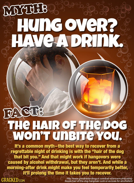 MYTH8 Hung OveR? HAVE A DRINK. FAGT8 THE HAIR OF THE DOG WOn'T unBite You. It's a common myth-the best way to recover from a regrettable night of drin