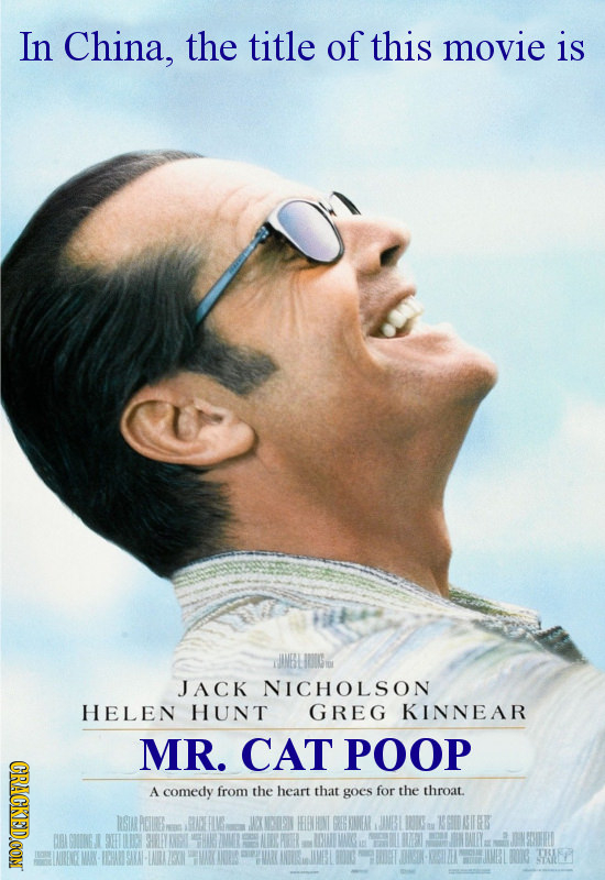 In China, the title of this movie is WMBLRIGu JACK NICHOLSON HELEN HUNT GREG KINNEAR MR. CAT POOP CRACKEDCON A comedy from the heart that goes for the