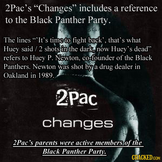 2Pac's Changes includes a reference to the Black Panther Party. The lines It's time to fight back', that's what Huey said 2 shots in the dark, now