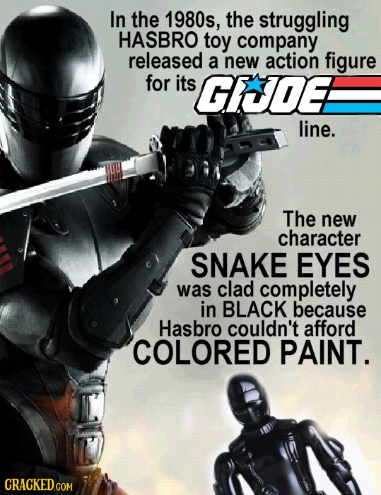 In the 1980s, the struggling HASBRO toy company released a new action figure for its GICDEA line. The new character SNAKE EYES was clad completely in