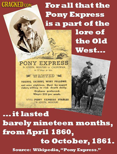 CRACKED COM Forall that the Pony Express is a part of the lore of the Old West... PONY EXPRESS St JOSEPH. MISSOURL ta CALIFORNIA in 10 days e Lee WANT