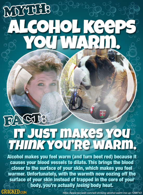 MYTH8 ALCOHOL KeePS YoU WARm. FACT8 IT Just MAkes YoU THINKYOU'RE WARm. Alcohol makes you feel warm (and turn beet red) because it causes your blood v