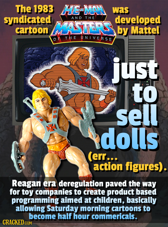 The 1983 HE-MAN was syndicated AND THE developed MASTERS cartoon by Mattel OF THE UNIVERSE just to sell dolls (err... action figures). Reagan era dere