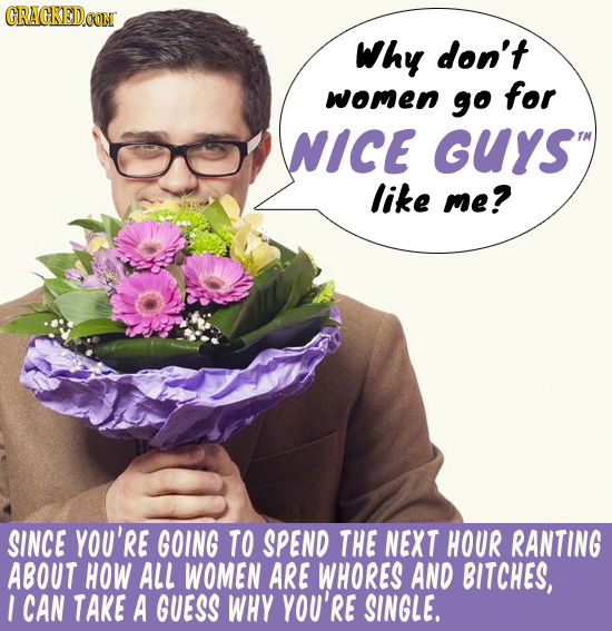 CRACKEDOON Why don't women go for NICE GUYS like me? SINCE YOU'RE GOING TO SPEND THE NEXT HOUR RANTING ABOUT HOW ALL WOMEN ARE WHORES AND BITCHES, I C