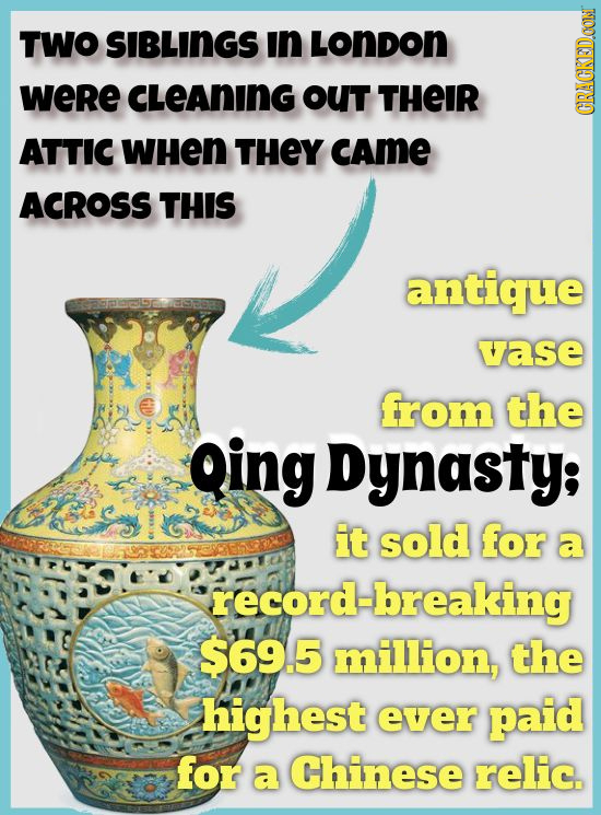 TWO SIBLINGS In LoNDON WeRe CLEAnING OUT THEIR GRAGKEDON ATTIC WHeN THEY CAME ACROSS THIS antique vase from the Qing Dynasty; it sold for a record-bre