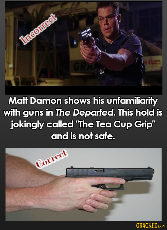 Tincorrect GRA Matt Damon shows his unfamiliarity with guns in The Departed. This hold is jokingly called 'The Tea Cup Grip and is not safe. Correct