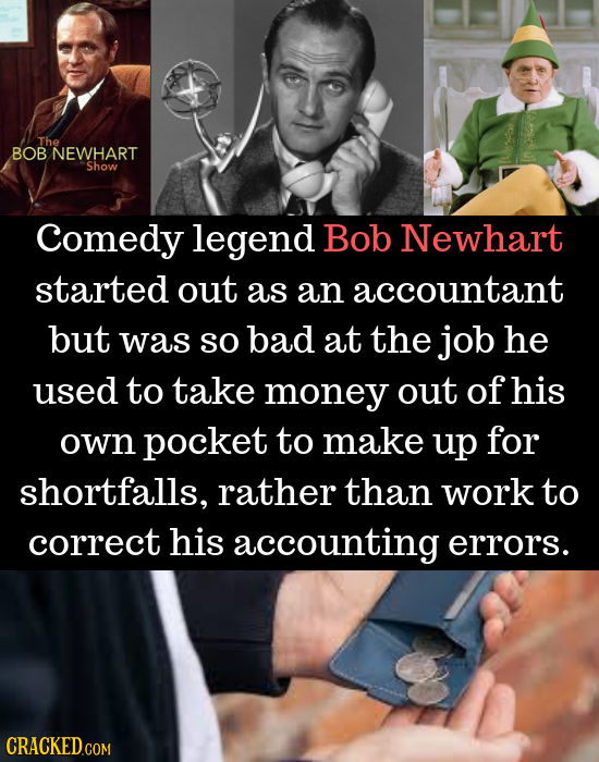 The BOB NEWHART Show Comedy legend Bob Newhart started out as an accountant but was so bad at the job he used to take money out of his own pocket to m