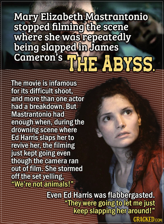Actors Who Had To Put Their Foot Down During Filming - Mary Elizabeth Mastrantonio stopped filming the scene where she was repeatedly being slapped in